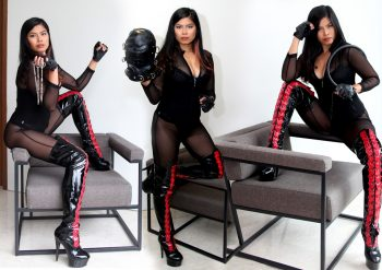 leather hood mistress with boots